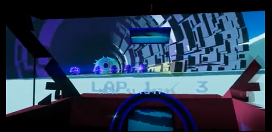 A snapshot of Skye McClure's virtual reality battle racing game they are developing to be played in arcades around the U.S. The game is still in development and McClure hopes to finish by March.