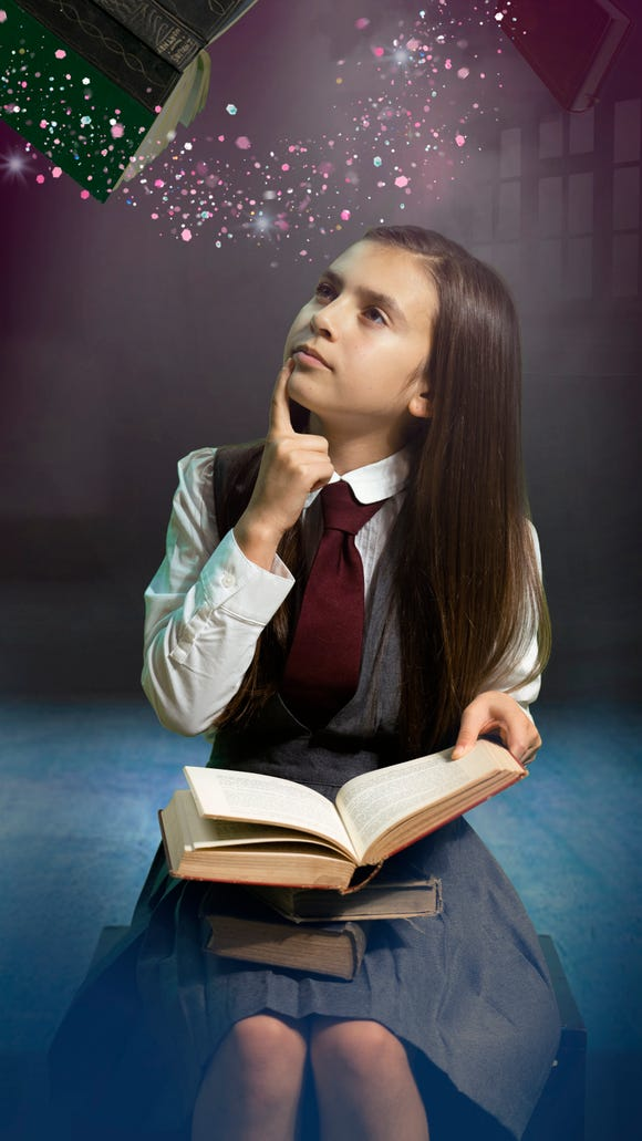 "Bremerton 11-year-old Olivia Juarez plays the title role in Bainbridge Performing Arts' ""Matilda."""