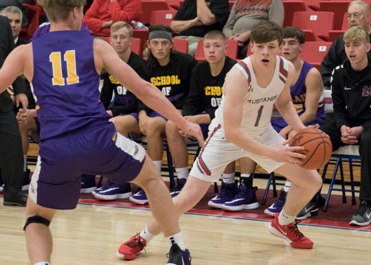 Westfall's Jay Wyman puts the ball on the floor during a 59-45 win over McClain at the Zane Trace Tipoff Classic on Friday November 29, 2019.