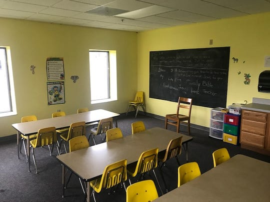 One of the classrooms provided by Zion Baptist Church for Ross County Christian Academy to use.