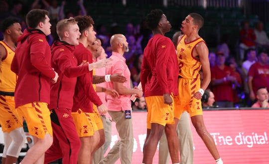 Iowa State Cyclones guard Tyrese Haliburton (22) reacts with teammates after scoring during the first half against the Alabama Crimson Tide at Imperial Arena.