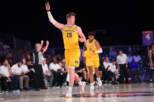 Michigan center Jon Teske reacts during the first half against Gonzaga on Friday, Nov. 29, 2019, in Paradise Island, Bahamas.