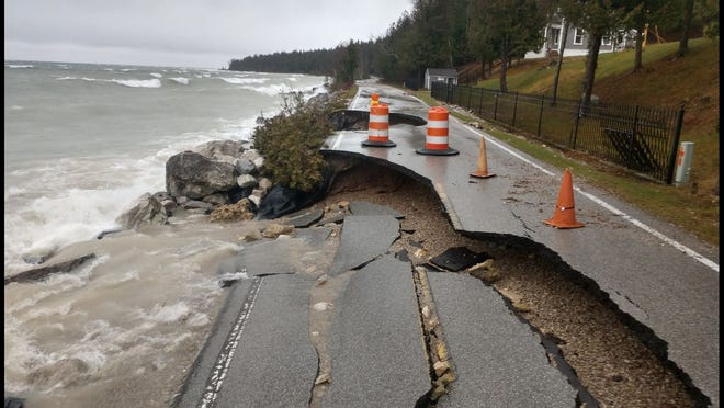 A portion of M-185 on the northern tip of Mackinac Island crumbled after rain and high winds this week.
