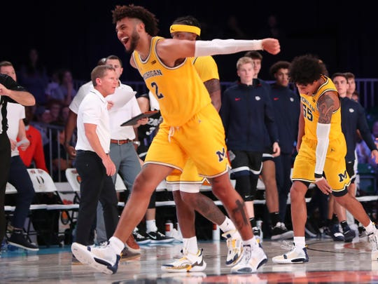 Michigan forward Isaiah Livers reacts during the second half of U-M's 82-64 win over Gonzaga in the Battle 4 Atlantis final in Paradise Island, Bahamas on Friday, Nov. 29, 2019.