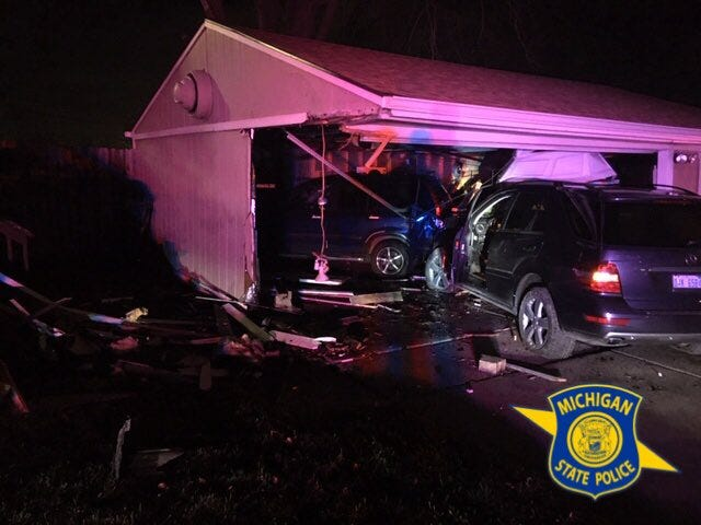 A man traveling eastbound on I-94 drove off the roadway and crashed into a house in Roseville around 2:30 a.m. Thursday.