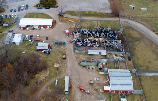 An aerial photo shows the barn that caught fire at African Safari Wildlife Park in Port Clinton, Friday, November 29, 2019.  At least 10 animals were killed in the barn fire.