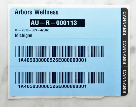 This is a recreational marijuana shipping tag from the Michigan Marijuana Regulatory Agency (MRA). The MRA issues tag numbers with every product sold that will have an associated number on the packaging for tracking purposes from seed to sale for quality purposes.