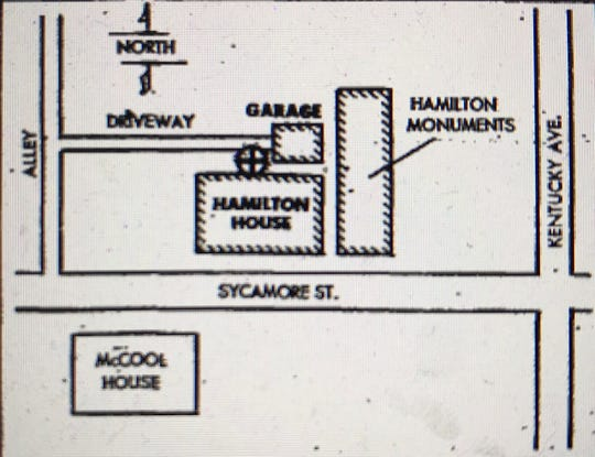 A map of Clarence Hamilton's property was published in the Evansville Press on Nov. 28, 1969. The cross shows where Hamilton's body was found after he was shot and killed on Thanksgiving Day.