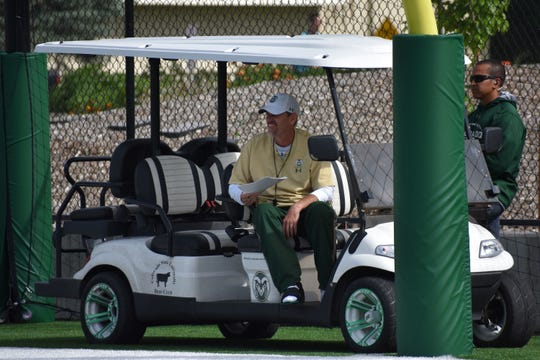 CSU football coach Mike Bobo returned to the practice field Wednesday after spending the previous 10 days in the hospital undergoing testing and treatment for nerve damage that was causing numbness in his feet. He spent most of the practice watching from a golf cart.