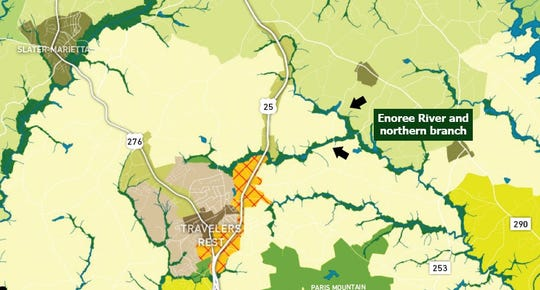 "This section of the future land map in Greenville County's proposed 2020 comprehensive plan shows the area bounded by U.S. 25 and the Enoree River as ""suburban edge,"" suitable for one or two homes per acre. Two developers have proposed much denser residential developments in this area in recent years."
