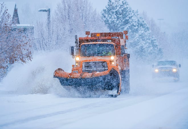 A city plow clears River Drive South on Friday. Great Falls has received 60.1 inches of snow since Sept. 1, which is 3.1 inches shy of the average for an entire snow season.