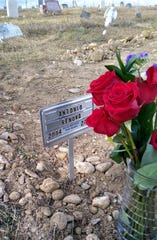 Tony Renova's grave site. A permanent headstone will be placed at a later date