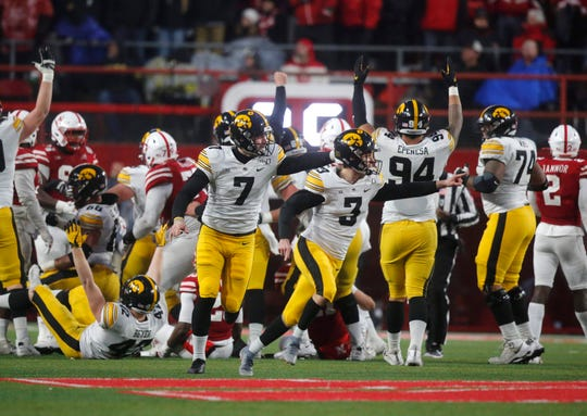 Keith Duncan (3) directs his celebration toward the Nebraska sideline after booming a 48-yard, game-winning field goal.