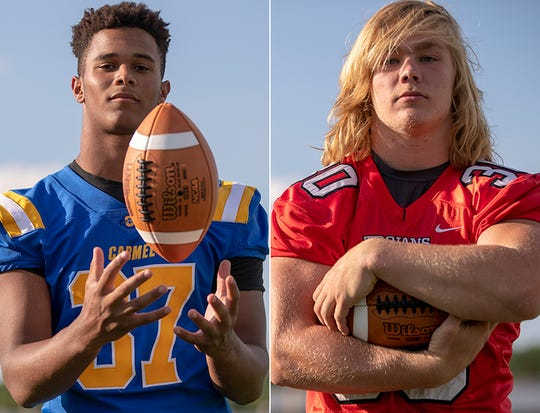 Ty Wise (left) and the Carmel defense will look to slow Carson Steele (right) and Center Grove's potent rushing attack in the Class 6A state final Saturday at Lucas Oil Stadium.