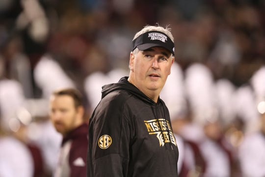 Mississippi State head football coach Joe Moorhead. Mississippi State and Ole Miss played in the Egg Bowl on Thursday, November 28, 2019 at Davis Wade Stadium in Starkville.