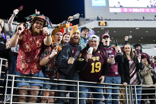 Nov 28, 2019; Starkville, MS, USA; Mississippi State Bulldogs fans cheer before the game against the Mississippi Rebels before the game at Davis Wade Stadium. Mandatory Credit: Matt Bush-USA TODAY Sports