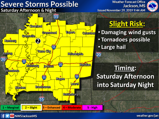 A strong storm system is expected to move through Mississippi Saturday, bringing a slight risk for damaging winds, hail and tornadoes.