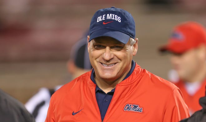 Ole Miss offensive coordinator Rich Rodriguez smiles before the Egg Bowl on Thursday, Nov. 28, 2019, at Davis Wade Stadium in Starkville, Mississippi.