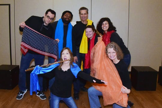 The WordPlayers showed off their considerable improvisational skills at Karns Senior Center Thursday, Nov. 21. Pictured front are Janet Reinholz and Jeni Lamm; back, Stavros Keritsis, Joseph Brown, Terry Weber, Glory Ledbetter, and Amy Minolfo.