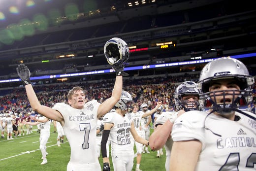 Central Catholic's Kyle Onken (7) celebrates after defeating Lutheran, 29-28, to win the IHSAA class A football championship, Friday, Nov. 29, 2019 at Lucas Oil Stadium in Indianapolis.
