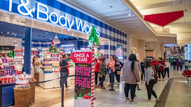Shoppers gather inside the Acadiana Mall to go shopping on Black Friday in 2019.