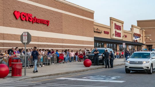Shoppers wait in long lines for Black Friday shopping at Target.