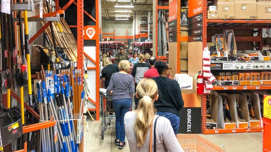 Black Friday shoppers line up in Home Depot.