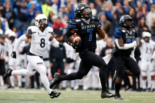 Memphis' Chris Claybrooks (7) runs back the opening kickoff for a touchdown Friday, Nov. 29, 2019, during a game at Liberty Bowl Memorial Stadium in Memphis.