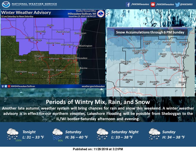 Rain, sleet and snow are possible throughout the weekend in southern Wisconsin.