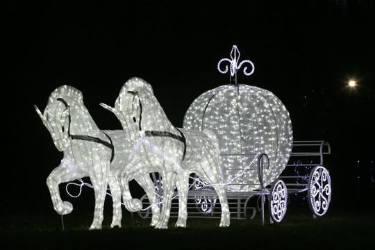 Cinderella's horse and carriage are among the lighted displays at Winter Wonders at Boerner Botanical Gardens.