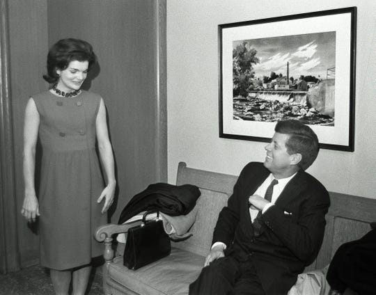 John F. and Jackie Kennedy visit the Milwaukee Journal in 1960.