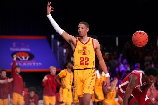 Iowa State 's Tyrese Haliburton (22) reacts during the second half against Alabama on Thursday, Nov. 28, 2019, in Nassau, Bahamas.
