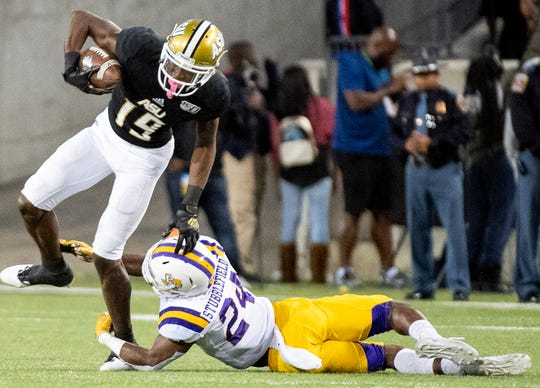 Alabama State wide receiver Michael Jefferson (19) against  Prairie View in second half action of the Turkey Day Classic on the ASU campus in Montgomery, Ala., on Thanksgiving Day, Thursday, November 28, 2019.