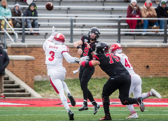 Ball State quarterback Drew Plitt passes the ball against Miami (Ohio) during their game at Scheumann Stadium Friday, Nov. 29, 2019.