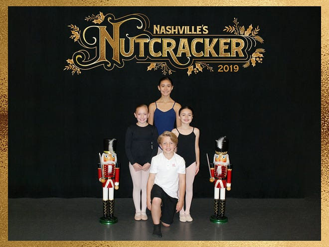 Three young dancers from Robertson County will take the stage in Nashville's Nutcracker running Dec. 7–23 at TPAC's Jackson Hall. The dancers are (front row, from left): Asher Lekki of Davidson County; (second row) Abigail Mantor and Sofia Dominguez of Williamson County; (back row) Mariana Dominguez of Williamson County; (not pictured) Piper Mackenzie Harris and Camden Henderson.