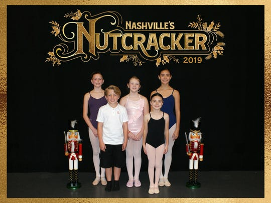 Six young dancers from Cheatham County will take the stage in Nashville's Nutcracker running Dec. 7–23 at TPAC's Jackson Hall. The dancers are (front row, from left): Asher Lekki of Davidson County and Sofia Dominguez of Williamson County; (back row) Sophie Gross, Kaylin England, and Mariana Dominguez of Williamson County; (not pictured) Eli Boggs, Asher Richardson, Corinne Cirigliano, and Forrest Boggs.