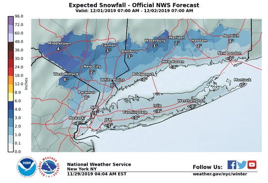 Expected snowfall totals for North Jersey and the New York metropolitan region from Sunday morning to Monday morning.