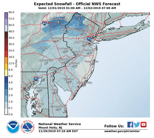 Forecast for total snowfall from December 1 2019 to December 2 2019.