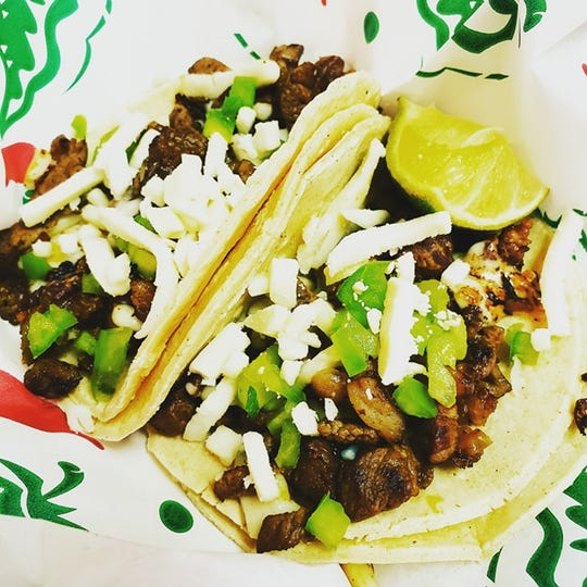 Tacos al alambre, made from grilled sirloin steak and served on homemade corn tortillas, from Taqueria Las Catrinas.
