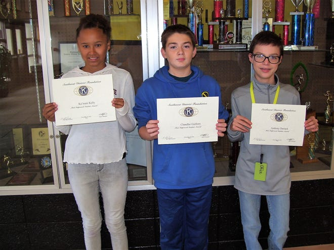 Alamogordo Kiwanis Club is honoring the Most Improved Students at Chaparral Middle School. Pictured are sixth grader Ka'mani Kelly,  seventh grader Chandler Guillory  and eighth grader Anthony Darrach.