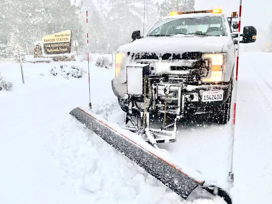 Plows are being used to keep mountain roadways open. Caltrans said any mountain driving requires chains.