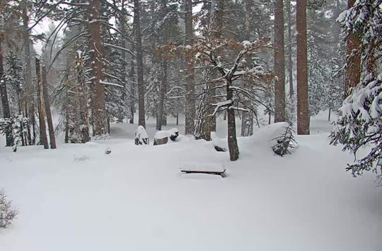 Mount San Jacinto State Park is buried under 2 1/2 feet of snow on Friday morning, as seen from a webcam operated by the Palm Springs Aerial Tramway.