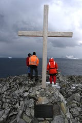 A monument at the UK's Rothera Station to staff who have lost their lives while working in Antarctica