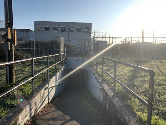 The ramp to an underground tunnel near Parrish Middle School and North Salem High School.
