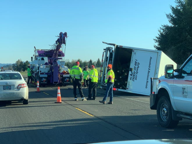 A box truck hauling 350 Christmas trees was part of a three-vehicle crash about 12:30 p.m. Friday that has closed one eastbound lane of Highway 22 west of Salem, according to the Oregon Department of Transportation.