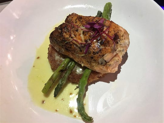 Zuzul Coastal Cuisine is a new seafood restaurant opened by Chef Gabriel Balderas. (Pictured: Salmon entree)