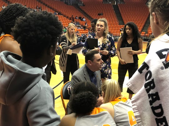 UTEP coach Kevin Baker instructs his team Friday, Nov. 29, 2019, at the Don Haskins Center