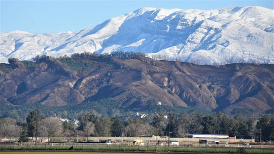 Snow covers Ventura County slopes on Nov. 29, 2019, as seen from Central Avenue in Camarillo.
