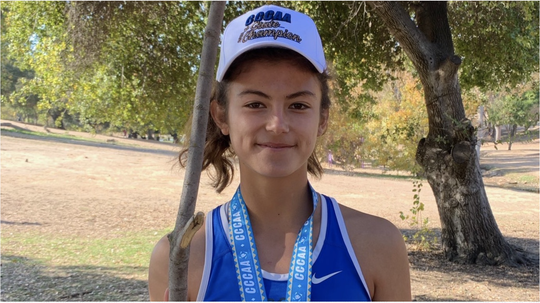 Moorpark College sophomore Sophia Cortina won the CCCAA women's cross country state championship on Nov. 23 at Woodward Park in Fresno.