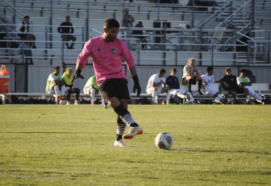 Goalkeeper Salvador Perez has allowed just 14 goals in 16 matches for the Oxnard College men's soccer team this season